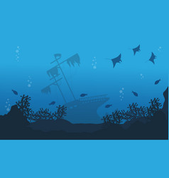 Ship stingray and fish on sea landscape vector
