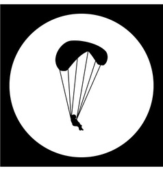 Simple parachutist man isolated black icon eps10 vector