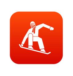 snowboarder icon digital red vector image vector image