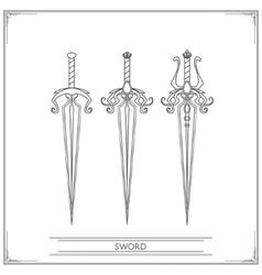 Spiky fantasy sword lineart vector