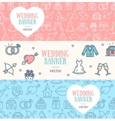 Wedding banner flyer horizontal set vector