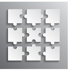 White Puzzles Piece JigSaw Object - 9 Pieces vector image vector image