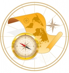 world map and compass vector image
