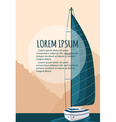 yacht club flyer design with sail boat vector image vector image