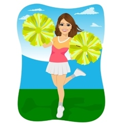 Young cheerleader holding pompoms vector
