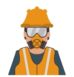 Person wearing gas mask and helmet icon vector