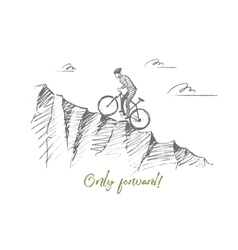 Hand drawn cyclist riding uphill with lettering vector