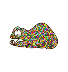 Mosaic chameleon colorful animal vector
