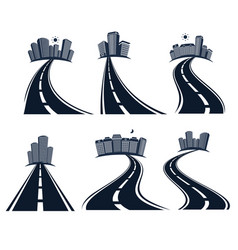 Isolated highway road with dividing marking and vector