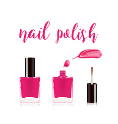 Pink nail polish in bottle with the bottle lid on vector