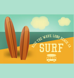 Surfing retro poster vector