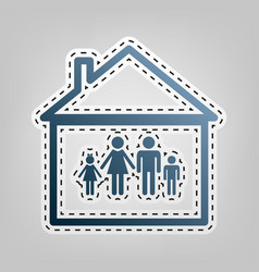 family sign   blue icon with vector image