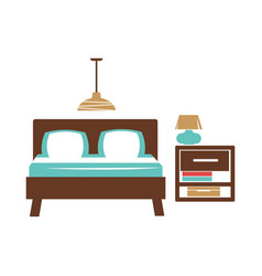 double bed table with lamp chandelier on ceiling vector image