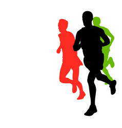 Marathon runners with copy space vector