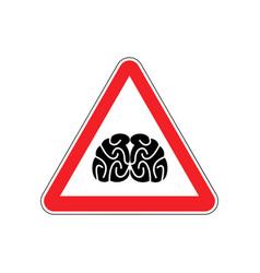 Brains warning sign red think hazard attention vector