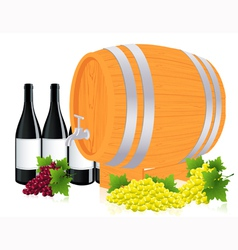 Barrel with wine vector