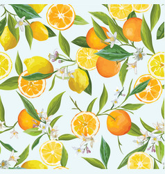orange and lemon seamless tropical pattern vector image