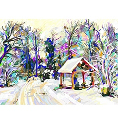 Digital painting of winter landscape vector