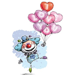 Clown with heart balloons saying i love you boy vector