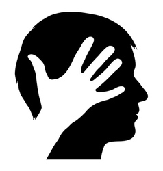 Male silhouette with hand vector