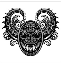 Ornate face of demon vector