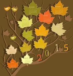 Tree shape calendar for 2015 vector image