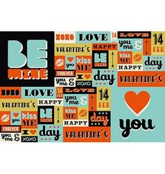 Happy valentines day retro vintage pattern vector