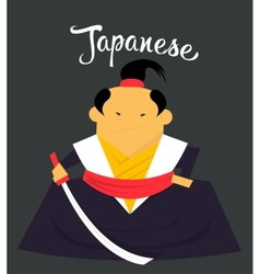 Japanese man character monk or samurai citizen of vector