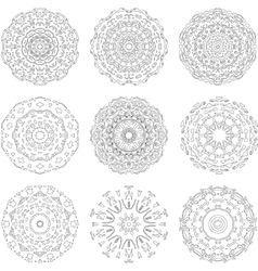 Set of zentangle style mandalas hand drawn vector