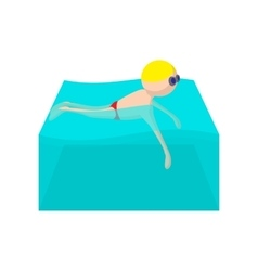 Swimmer cartoon icon vector
