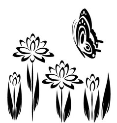 Black butterfly and flowers 2 vector