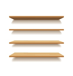 Empty wooden shelf isolated background vector