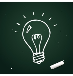 Light bulb hand drawn with chalk doodle idea icon vector