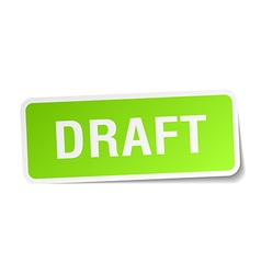 Draft green square sticker on white background vector