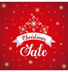 Pine tree sale and ribbon icon merry christmas vector