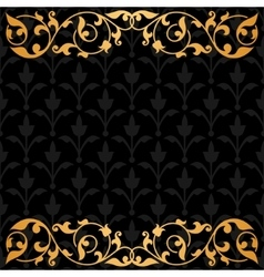 Black background with gold vintage ornament vector