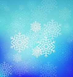 Blue christmas snowflakes background with lights vector image