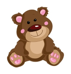 Brown teddy bear on a white background vector image vector image