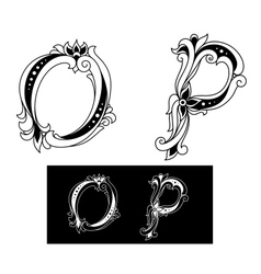 Capital letters O and P vector image vector image