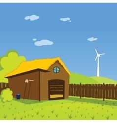 Cartoon farm background vector image