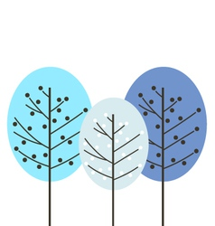 Colorful abstract winter trees isolated on white vector