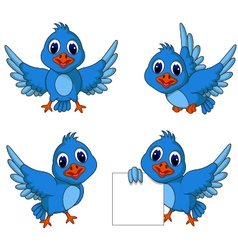 cute blue bird cartoon collection vector image vector image