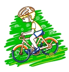 Edit boy on a bicycle color drawing vector
