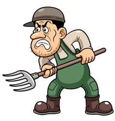 Farmer angry vector image vector image