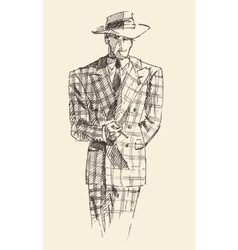 Fashion men in checkered suite with hat vector image