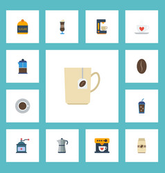 Flat icons mug beverage moka pot and other vector