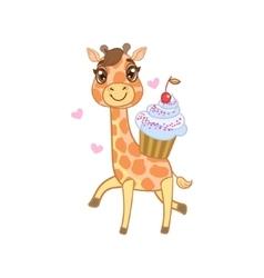 Giraffe with cupcake vector