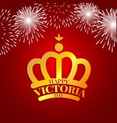 Golden crown with fireworks for victoria day vector