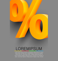 golden percent sign on gray background vector image vector image