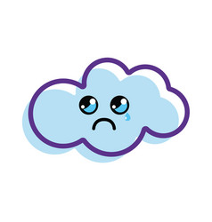 Kawaii crying cloud icon vector
